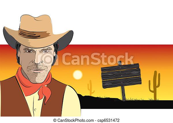 Retrato de vaquero. Fondo de póster de vector - csp6531472