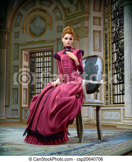 retrato, cg, cor-de-rosa, 3d - csp20640706