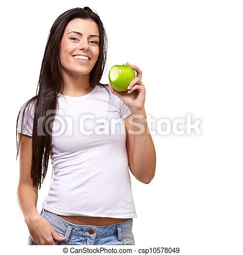 retrato, comendo maçã, femininas - csp10578049