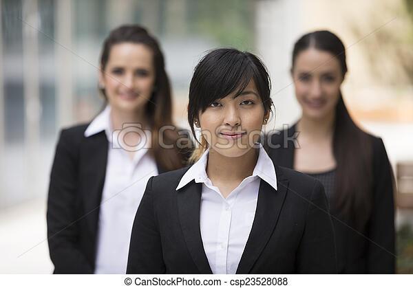 retrato del negocio, tres, women. - csp23528088