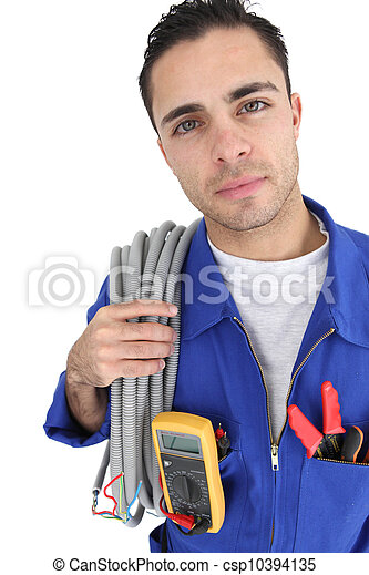 Retrato de un electricista - csp10394135