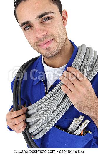 Retrato del joven electricista - csp10419155