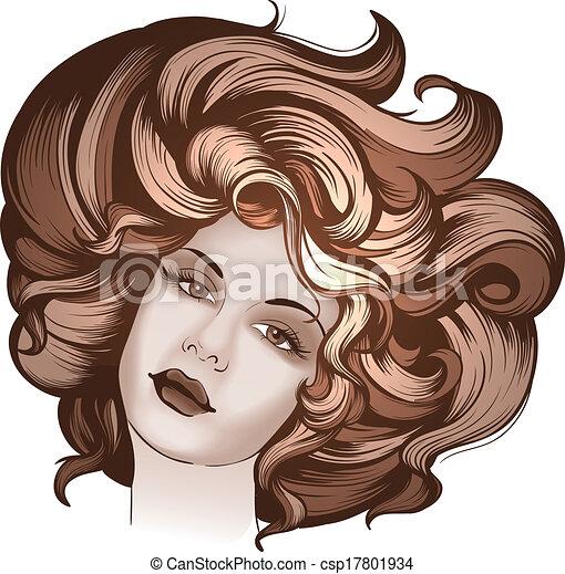 retrato, estilo, mulher, retro - csp17801934