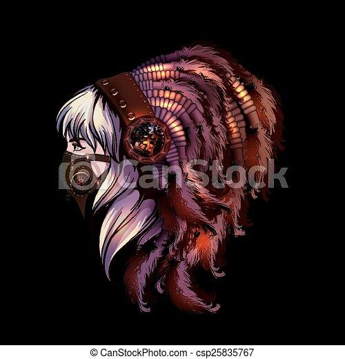 retrato, estilo, mulher, yoyng, steampunk - csp25835767