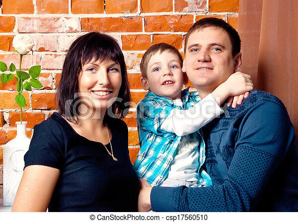 retrato, estudio, familia joven - csp17560510