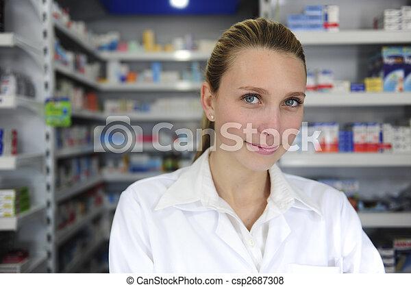 retrato, farmacéutico, hembra, farmacia - csp2687308