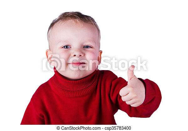 Retrato de niño feliz - csp35783400