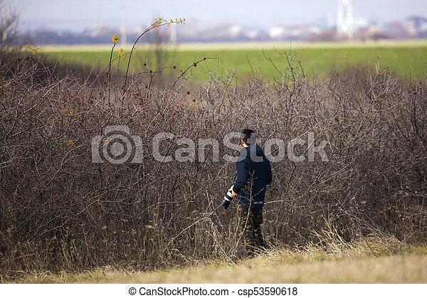 retrato, fotógrafo, fauna, jovem, natureza - csp53590618