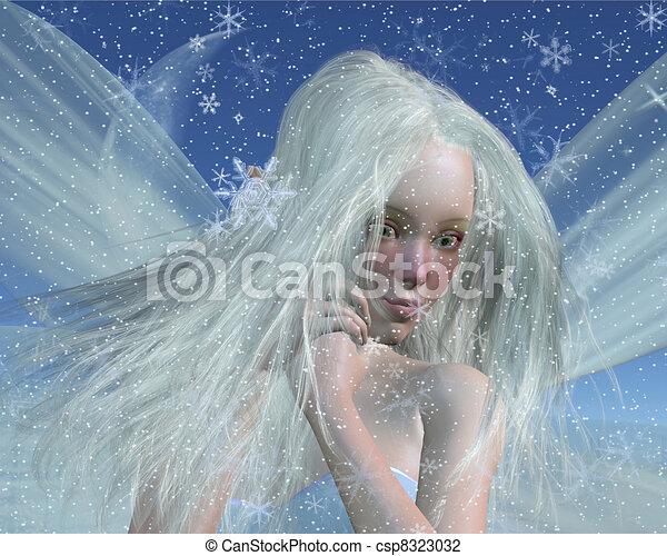 retrato, gelado, inverno, fada - csp8323032