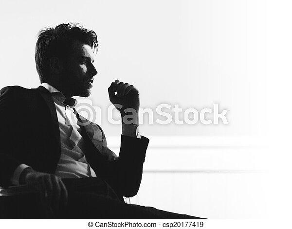 retrato, homem, esperto, bonito - csp20177419