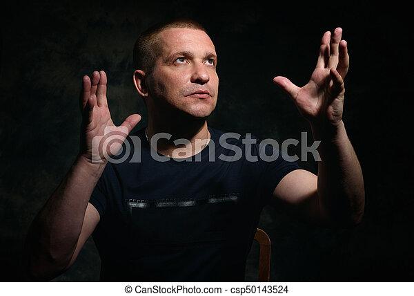 retrato, homem, sério - csp50143524