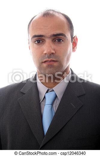 retrato, homens, jovem, negócio, white. - csp12046340