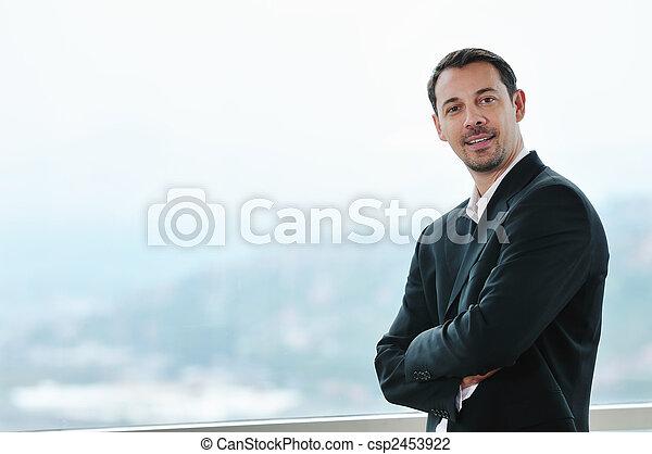retrato, jovem, homem negócio - csp2453922