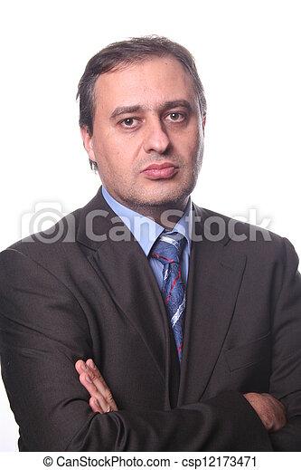 retrato, jovem, homem negócio - csp12173471