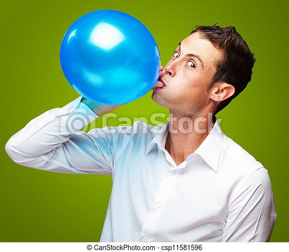 Retrato de joven globo inflable - csp11581596