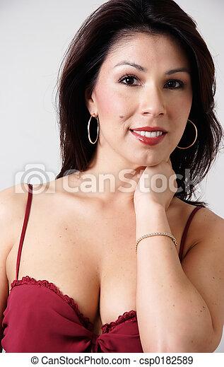 retrato, latina, excitado - csp0182589