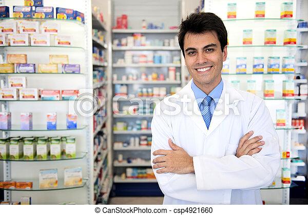 retrato, macho, farmacéutico, farmacia - csp4921660