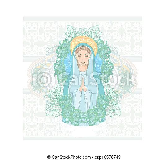retrato, maría, bendito, virgen - csp16578743
