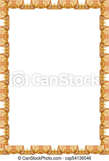 Retrato, marco, fronteras, adornado, blanco. Marco,... foto de ...
