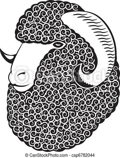 Retrato de una oveja merino. - csp6782044