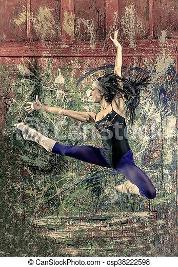Retrato de jovencitas en forma de salto - csp38222598