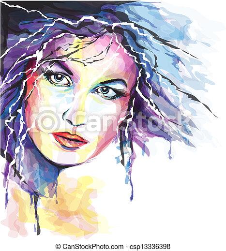 retrato, mulher, jovem - csp13336398