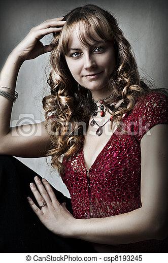 retrato, mulher jovem, moda, excitado - csp8193245