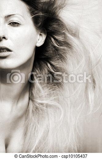 retrato, mulher, moda - csp10105437