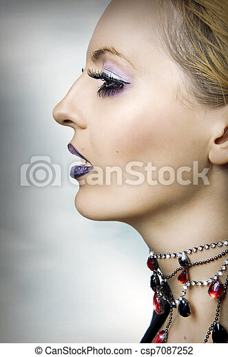 retrato, mulher, moda, beleza - csp7087252