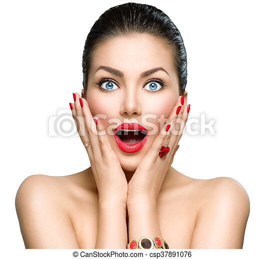 retrato, mulher, moda, beleza, surpreendido - csp37891076