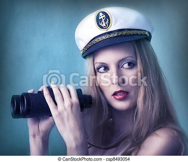 retrato, mulher, moda, excitado - csp8493054