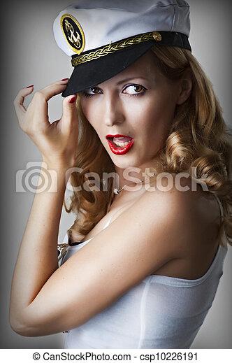 retrato, mulher, moda, excitado - csp10226191