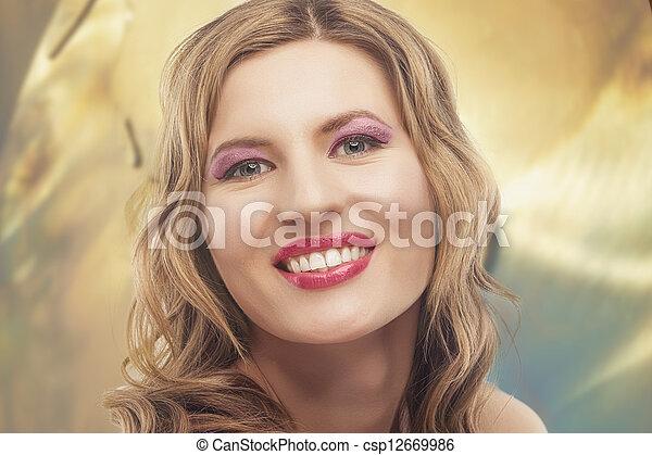 retrato, mulher, moda, jovem, loura - csp12669986