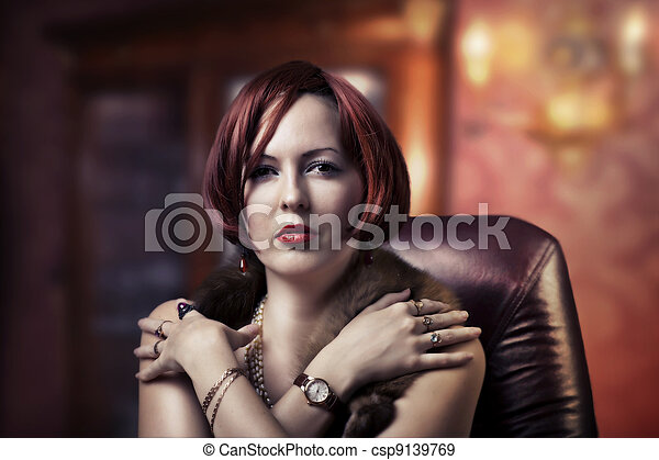 retrato, mulher, moda, luxo - csp9139769
