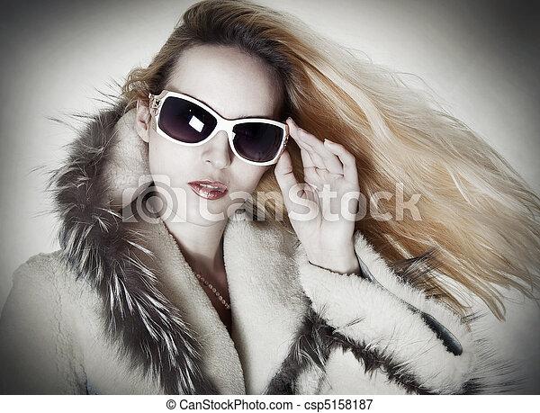 retrato, mulher, moda, sedutor - csp5158187