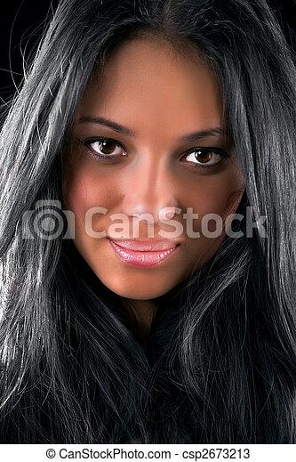 retrato, mulher, morena, jovem - csp2673213