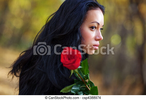 retrato, mulher, morena, jovem - csp4388974