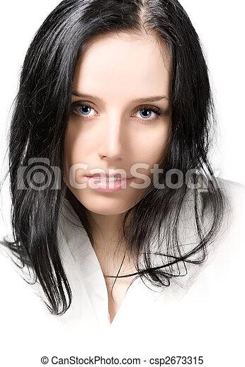 retrato, mulher, morena, jovem - csp2673315