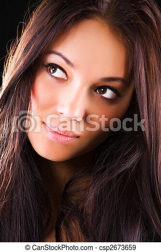 retrato, mulher, morena, jovem - csp2673659