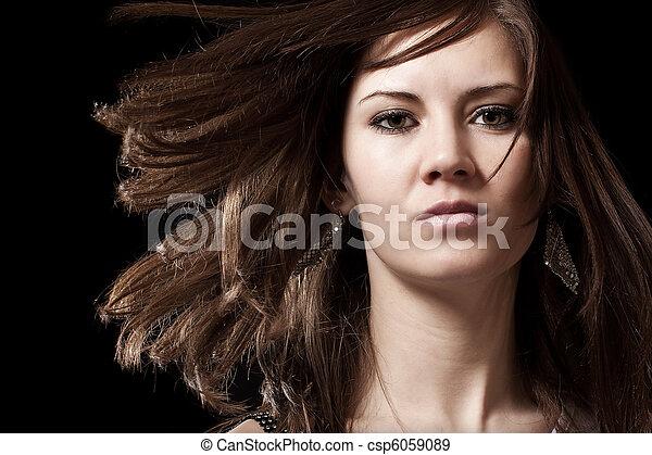 retrato, mulher, morena, jovem - csp6059089