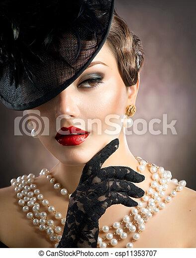 retrato, mulher, retro - csp11353707