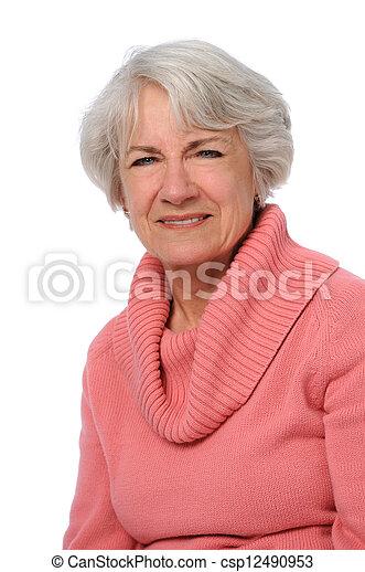 retrato, mulher sênior - csp12490953