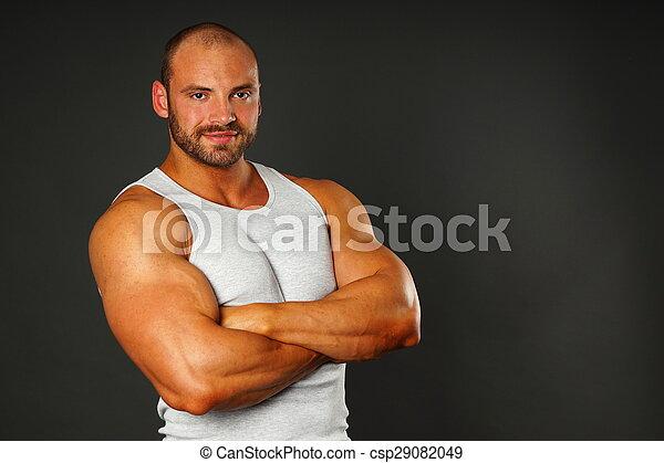 Retrato del hombre musculoso - csp29082049