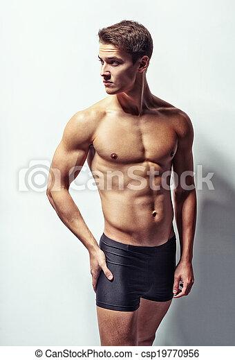 retrato, muscular, homem, jovem, excitado - csp19770956