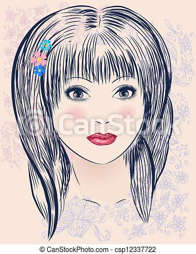 Retrato de una linda chica - csp12337722