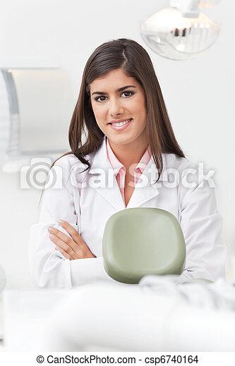 retrato, odontólogo, femininas - csp6740164