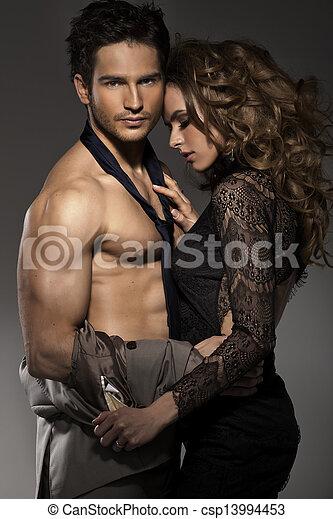 retrato, par, amor jovem, posar - csp13994453