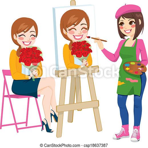 Artista pintando retratos - csp18637387