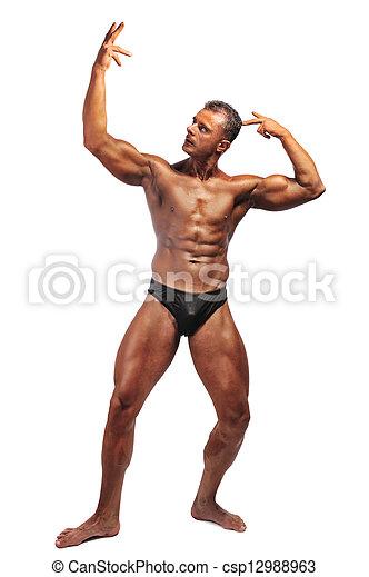 Retrato de un hombre musculoso posando - csp12988963