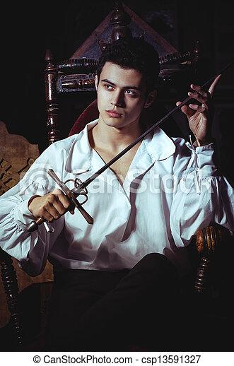 retrato, romanticos, homem - csp13591327